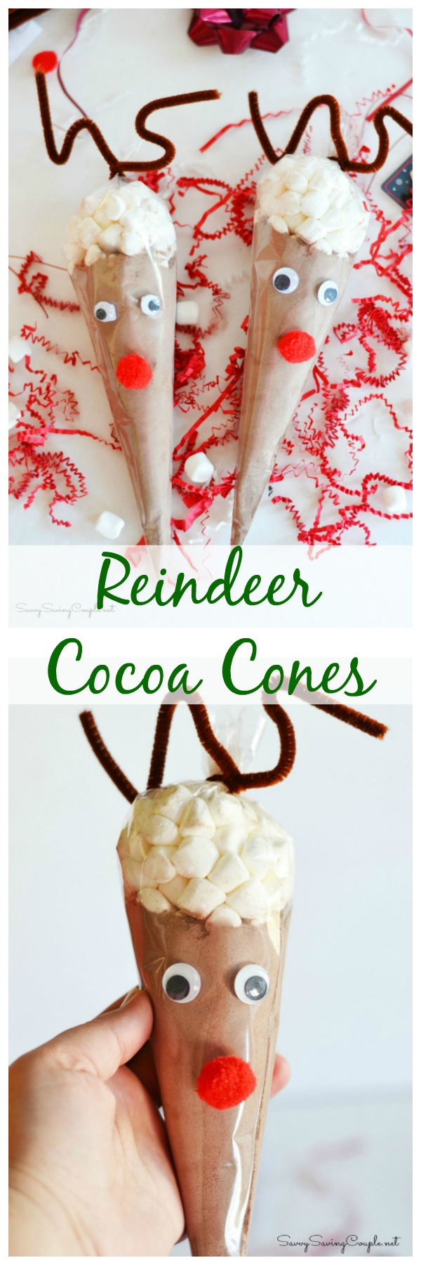 Reindeer Hot Cocoa Cones make the cutest Christmas edible craft! Get this reindeer hot chocolate christmas DIY today! See how much cocoa goes into one cone and how many cups each can make!