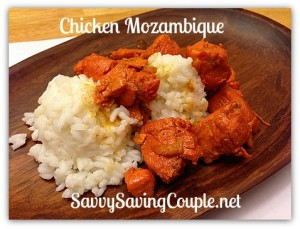 Chicken Mozambique over white rice