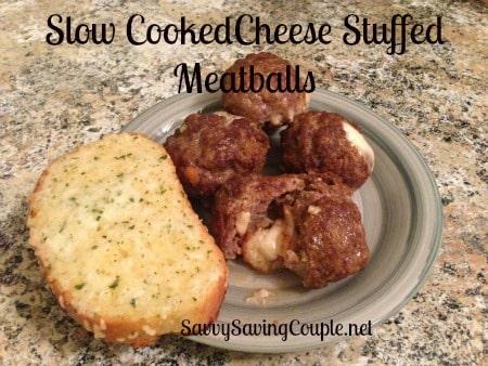 Slow Cooker Cheese Stuffed Meatballs #SuperBowl48Snack - Savvy Saving ...