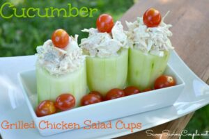 Grilled Chicken Salad Filled Cucumber Cups Recipe