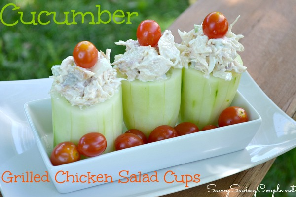cucumber cups with grilled chicken salad