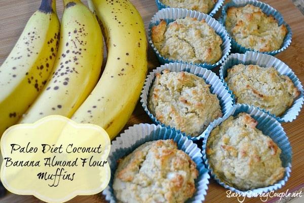 Paleo Diet Coconut Banana Almond Flour Muffins