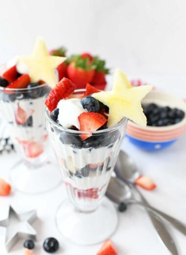 Red White Blue Parfaits with fresh blueberries, strawberry, and apple star cutouts.