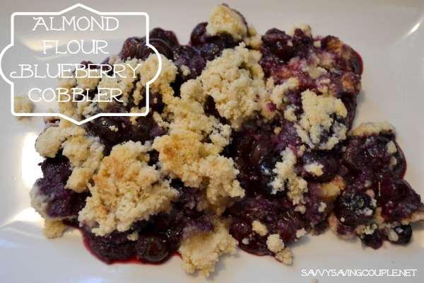 Almond Flour Blueberry cobbler on a white plate.