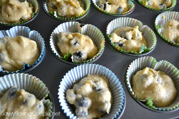 Almond flour blueberry muffin batter in cupcake liners.