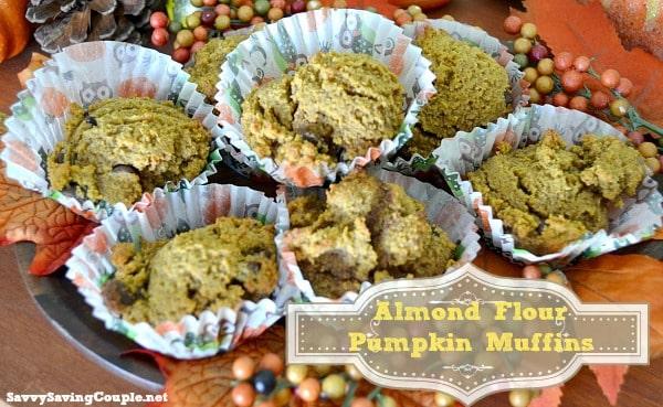 Almond Flour Chocolate Chip Pumpkin Muffins Recipe #Pumpkin #Harvest