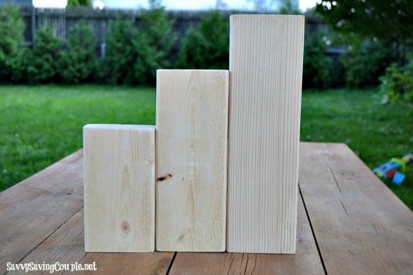 rough wooden blocks
