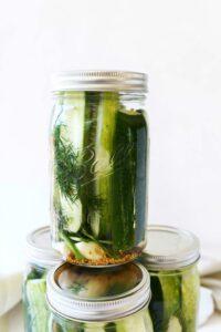 Refrigerator Pickles in Ball mason jars