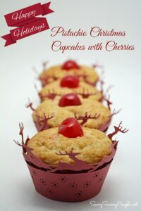 Pistachio Christmas Cupcakes with Cherries #Recipe