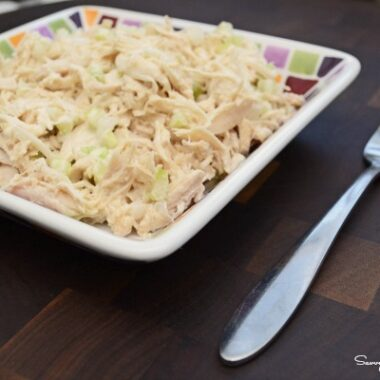 White meat chicken salad in a mosaic plate with a fork.