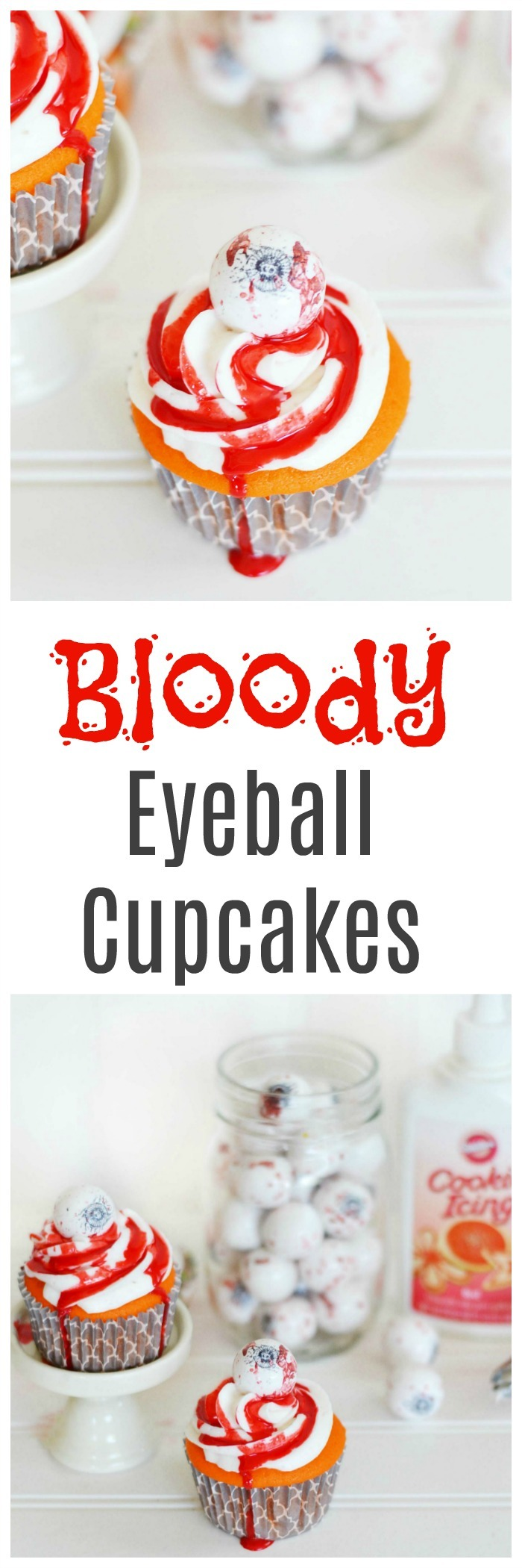 Easy Halloween Bloody Eyeball Cupcakes