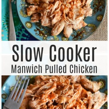 Slow Cooker Manwich Pulled Chicken on a blue patterned table with a burlap napkin.