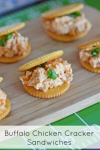 Buffalo Chicken Dip on Ritz Crackers