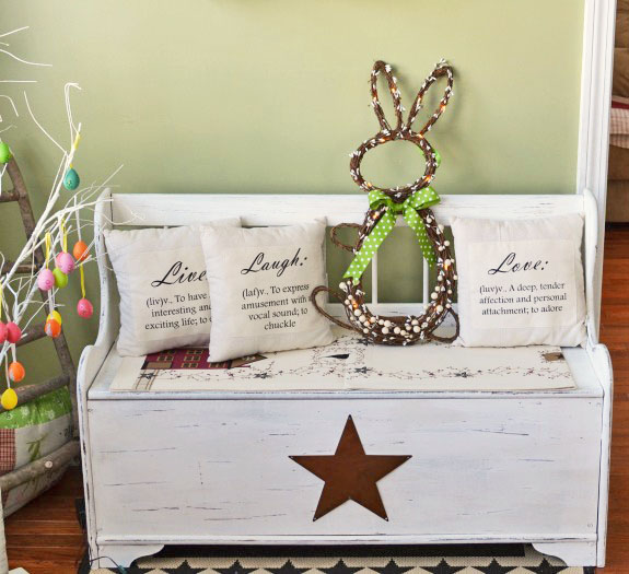 Deacon's Bench Made new after a primitive makeover.