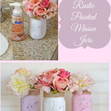 Rustic-Painted-Mason-Flower-Vases