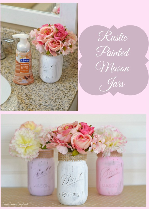 Diy Bathroom Decor Rustic Painted Mason Jars Some Premium Hand Soaps Savvy Saving Couple