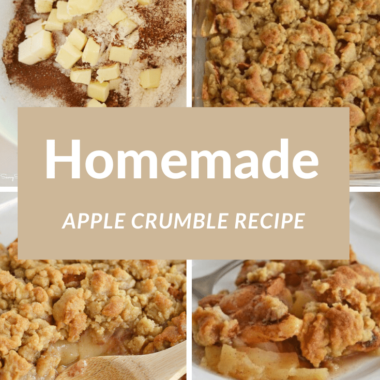 Homemade Apple Crumble ingredients and then baked with a wooden spoon.
