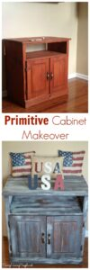 Distressed Chalky Finish Entertainment Center Cabinet Makeover
