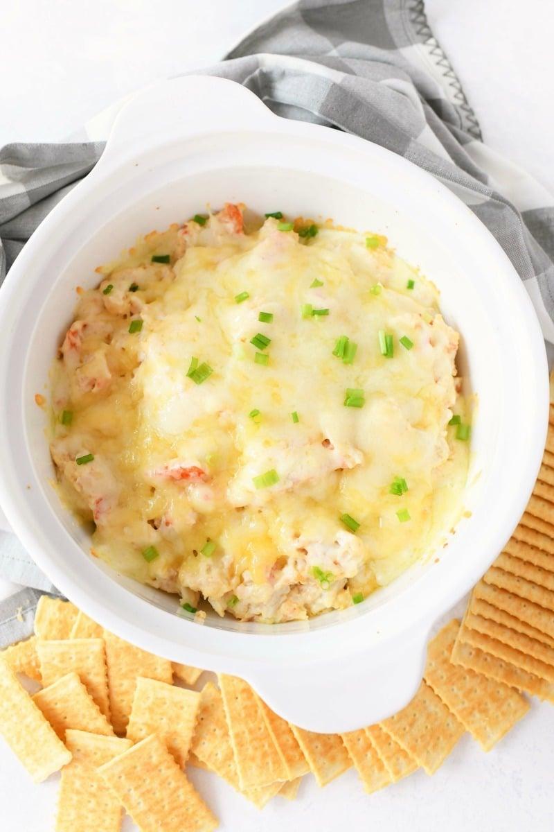Crab Rangoon Dip in a white bowl.