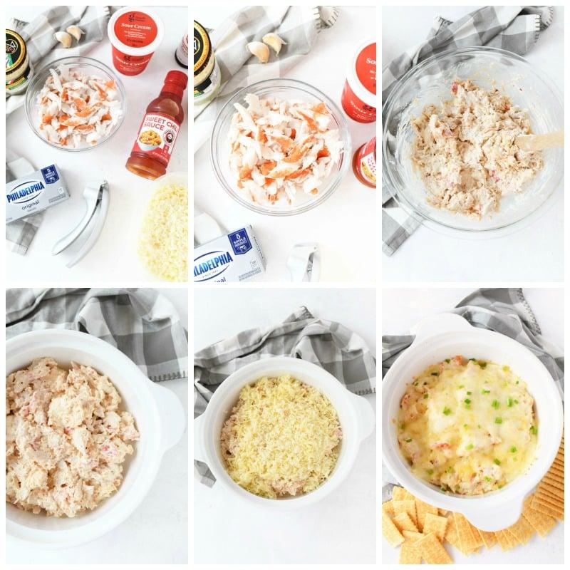 How to Make Hot Crab Rangoon Dip  a grid of process shots.