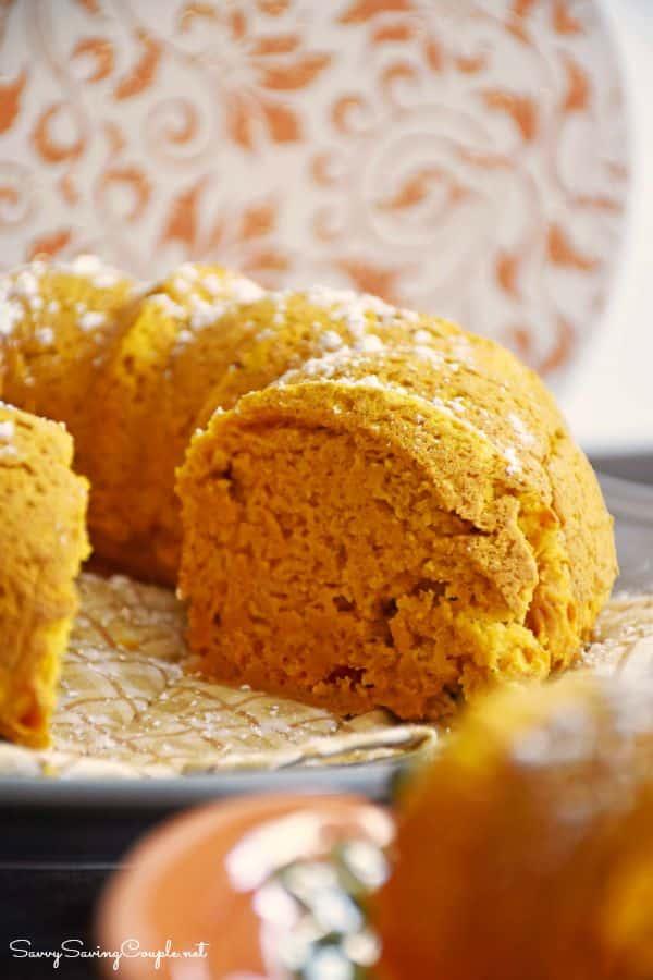 pumpkin bundt cake up close on a plate.