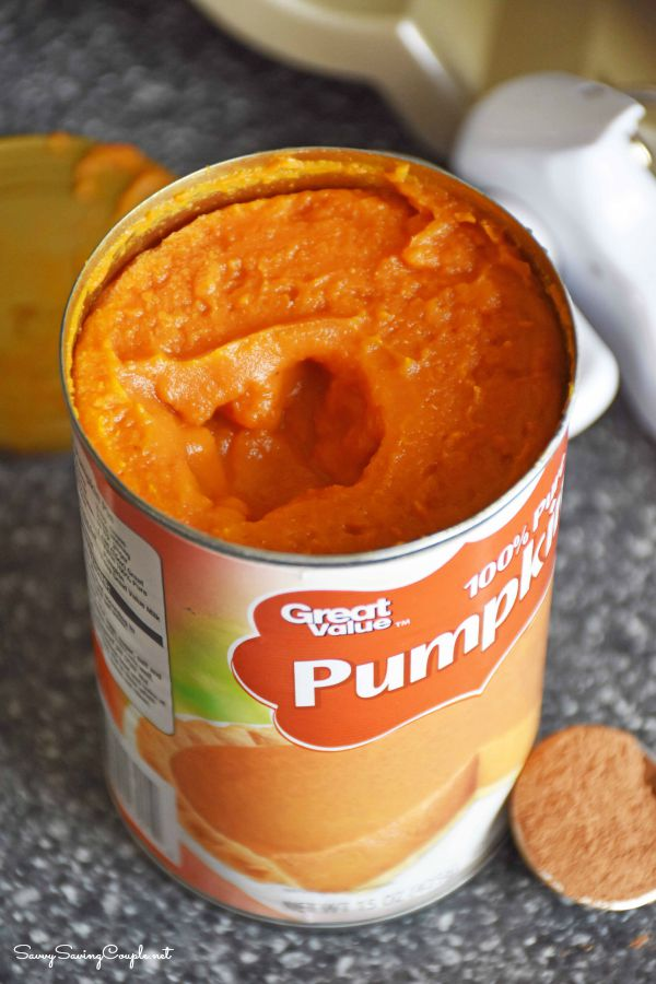 100% real canned pumpkin on a counter.