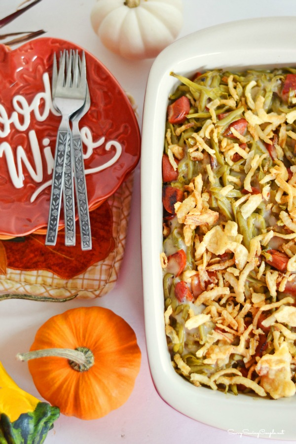 Green bean casserole with chorizo. Make this spin on a classic! This green bean casserole is loaded with delicious flavors and is perfect for Thanksgiving!