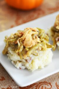 Green Bean Casserole Over Mashed Potatoes