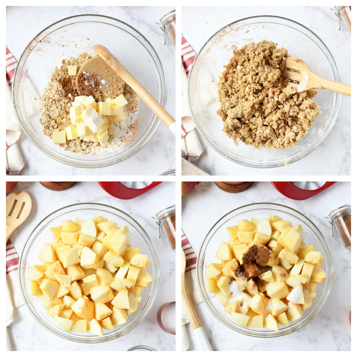 A four image collage of how to make apple crisp.