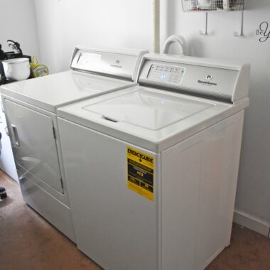 Speed Queen washer and dryer in laundry room