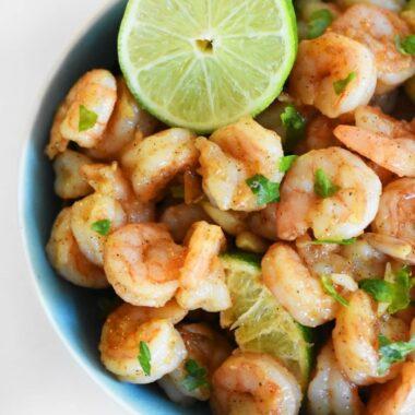 Garlic Lime Shrimp in a blue bowl.