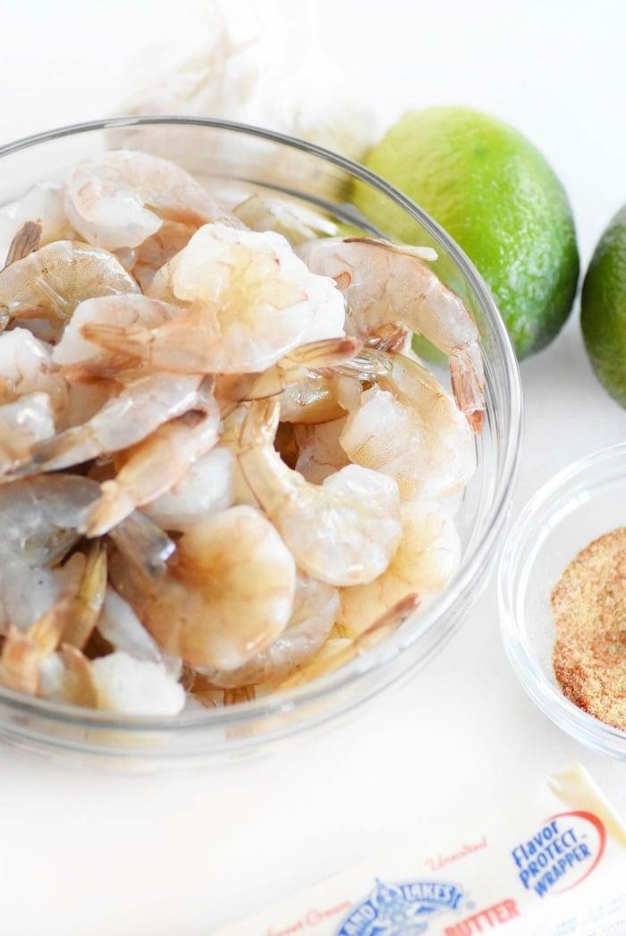 Raw shrimp ingredients
