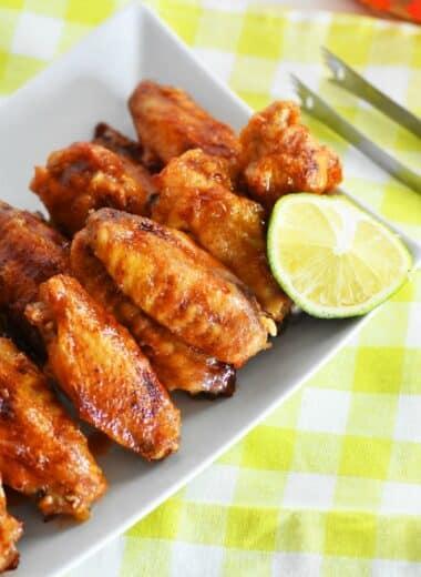 Honey Sriracha Lime Wings Recipe on plate