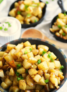 garlic home fries in a dish