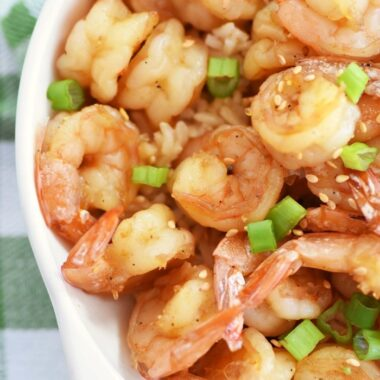 Honey Lime Shrimp in a white dish