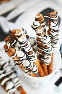 Chocolate-Dipped Soccer Themed Pretzel Sticks