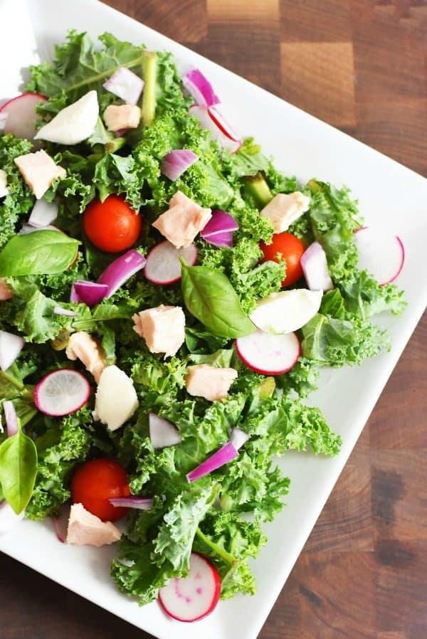Kale Caprese Salad with Tuna