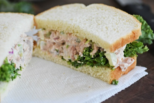 Tuna-sandwich on a white plate