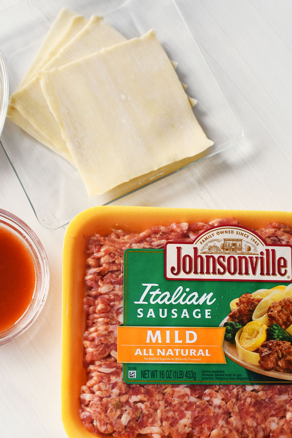 Johnsonville Italian Sausage in Mild flavor on a white table.