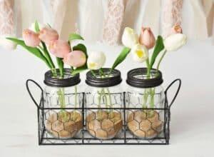 DIY Tulip Bathroom Jar Decor & Dove Dream Shower Foam