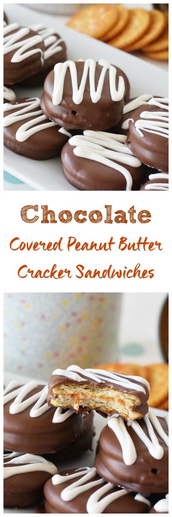Chocolate Covered Peanut Butter Cracker Sandwiches- A delicious homemade candy bar treat that is the perfect marriage of chocolate & peanut butter goodness.