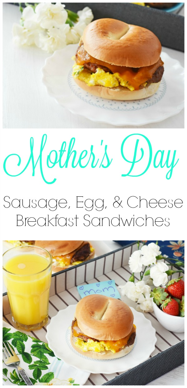 Sausage, Egg, & Cheese Breakfast Sandwiches. Check out this savory Mother's Day breakfast recipe idea for the perfect Breakfast in Bed treat! AD
