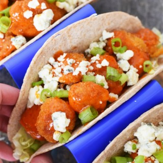 Buffalo Shrimp Tacos with Blue Cheese Crumbles1