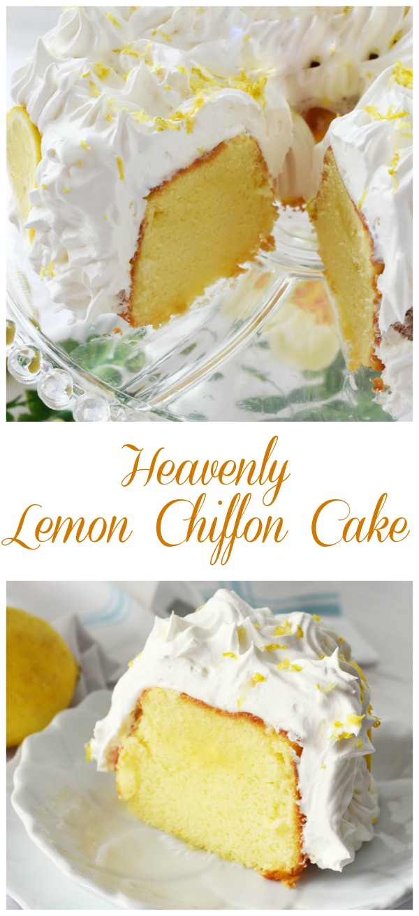 Lemon Chiffon Cake Recipe: A Light and airy Lemon Cake that is similar to angel food cake. This decadent cake is then frosted and garnished with extra lemon and a light, creamy topping.