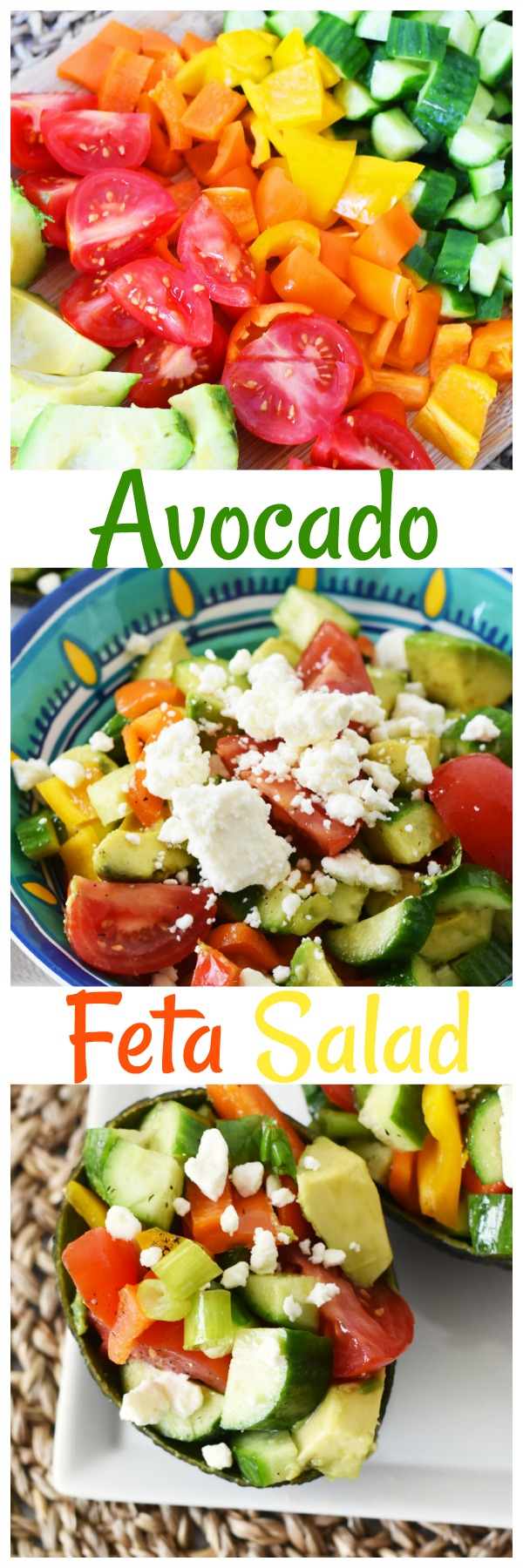 Avocado Feta Salad- A healthy and easy to prepare summer salad that can be prepared in minutes. Store it in an airtight container for 2-3 days of meals! AD