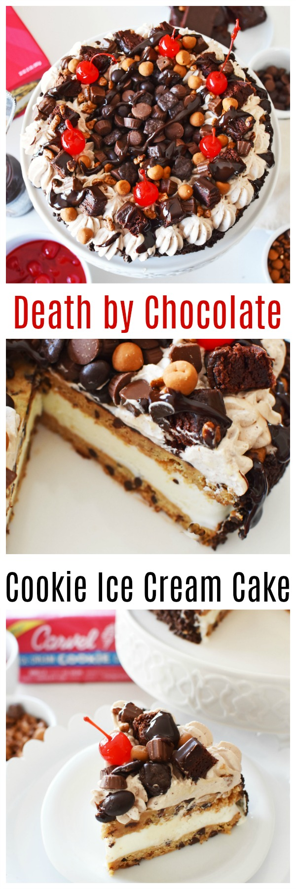 Death By Chocolate Ice Cream Cookie Cake-A tasty, chocolately, frozen ice cream cake dessert that is fairly easy to customize and enjoy this summer! #SummerCakeBreak Personalize this cookie ice cream cake with cocoa whipped cream, chocolate candy pieces and more! AD