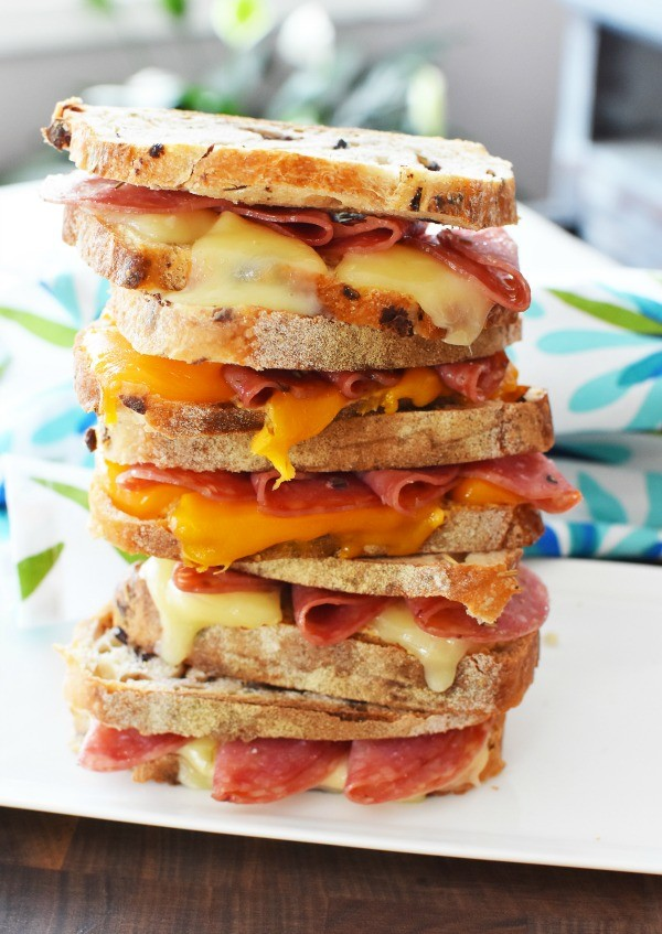 Salami and Cheese Sandwich Stack