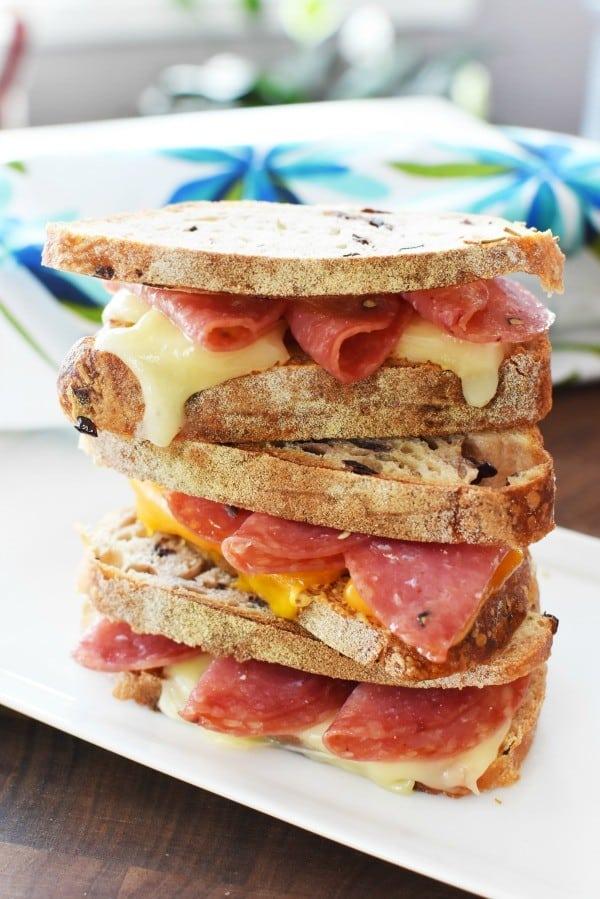 cheesy salami sandwiches