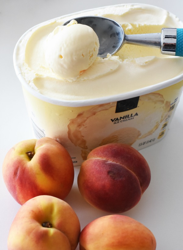 peaches and ice cream