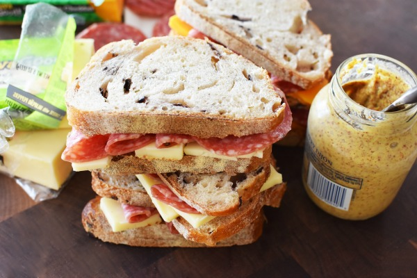 salami and cheese with mustard